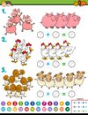 Maths addition educational task with farm animals Royalty Free Stock Photo