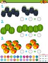 Maths addition educational game with fruits Royalty Free Stock Photo