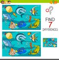 Differences game with fish characters Royalty Free Stock Photo
