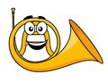 Cartoon illustration of a french horn with smiling face in the curl the brass tube isolated on white Stock Photos