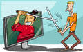 Cartoon illustration of funny man fighting with samurai or watching interactive digital television or playing video game Royalty Free Stock Photos