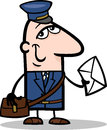 Cartoon illustration of funny postman with letter profession occupation Stock Images