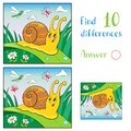Cartoon Illustration of Funny Snail and Insect for Children. Find 10 differences Royalty Free Stock Photo