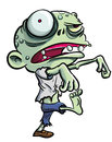 Cartoon illustration of a ghoulish undid green zombie in tattered clothing with big eye isolated on white Royalty Free Stock Image