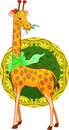 Cartoon illustration giraffe with scarf Stock Photos