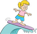 Cartoon illustration girl surfing Royalty Free Stock Photo