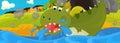 Cartoon illustration - green dragon Royalty Free Stock Photo