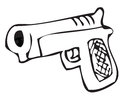 Cartoon illustration hand gun Stock Image