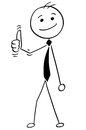 Cartoon Illustration of Happy Smiling Boss,Manager or Businessman Showing Thumbs Up Gesture