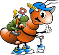 Cartoon illustration of a Happy Working Ant Royalty Free Stock Photo