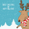 Cartoon illustration for holiday theme with Deer on winter backg Royalty Free Stock Photo
