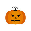 Cartoon  illustration of a Jack-O-Lantern pumpkin curved in a vampire expression, isolated on white Royalty Free Stock Photo