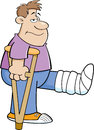 Cartoon illustration of a man on crutches with his leg in a cast Royalty Free Stock Photos