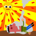 A cartoon illustration of a man having a heat stroke Stock Images