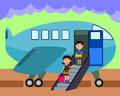A cartoon illustration of a mother and son boarding an airplane Royalty Free Stock Images