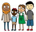 Cartoon illustration multicultural multiracial children