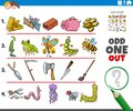 Odd one out picture game with cartoon objects and animals Royalty Free Stock Photo