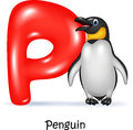 Cartoon illustration of P letter for Penguin Royalty Free Stock Photo