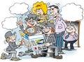 Cartoon illustration of people there read newspaper