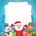 Cartoon Illustration Santa's Friends Deer, Snowman, Christmas Tree And New Year Gifts. Royalty Free Stock Photo