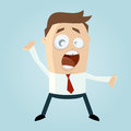 Cartoon illustration of shouting businessman with open mouth Stock Photography