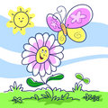Cartoon illustration spring Royaltyfri Bild