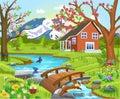 Cartoon illustration of a spring natural landscape