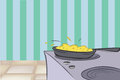 Cartoon illustration stove kitchen Royalty Free Stock Image