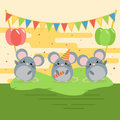 Cartoon illustration of three cute mouses with balloons and flags on green grass.