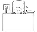 Cartoon Illustration of Tired Manager or Boss Sleeping at Desk T