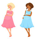 Cartoon illustration two lovely pregnant women summer dress Royalty Free Stock Photo
