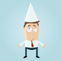 Cartoon illustration of unhappy businessman in dunce cap Royalty Free Stock Photos