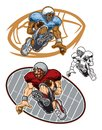 stock image of  Cartoon Illustrations of Football Players Running with Balls