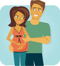 Cartoon image happy pregnant couple celebrating Royalty Free Stock Image