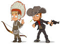 Cartoon indian boy and cowboy characters set
