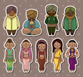 Cartoon Indian stickers Royalty Free Stock Images