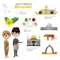 Cartoon infographic of brunei asean community.
