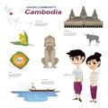 Cartoon infographic of cambodia asean community.