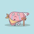 Cartoon injured liver with crutch