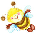 Cartoon insect bee watercolor illustration. i
