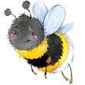 Cartoon insect bumblebee watercolor illustration. Royalty Free Stock Photo