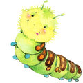 Cartoon insect caterpillar butterfly watercolor illustration. Royalty Free Stock Photo