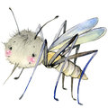 Cartoon insect mosquito watercolor illustration. Royalty Free Stock Photo