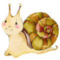 Cartoon insect snail watercolor illustration. Royalty Free Stock Photo
