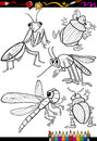 Cartoon insects set for coloring book or page illustration of black and white and bugs children Royalty Free Stock Photography