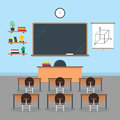Cartoon Interior Classroom School or University with Furniture. Vector
