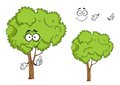 Cartoon isolated green tree character ree with forked trunk and sappy foliage on white for ecology or landscape design Stock Image