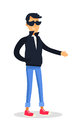 Cartoon Man in Black Jacket and Glasses on White Royalty Free Stock Photo