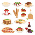 Cartoon italy food cuisine delicious homemade cooking fresh traditional lunch vector illustration.
