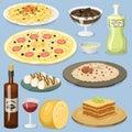 Cartoon Italy food cuisine homemade cooking fresh traditional Italian lunch vector illustration.